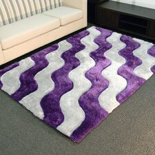 Shaggy Purple/Ivory Abstract 2-Tone Wavy Area Rug