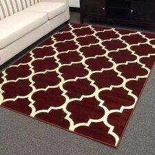 Tiffany Burgundy/Ivory Geometric Area Rug