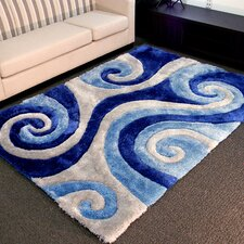 Shaggy Blue Abstract Swirl Area Rug