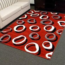 Hollywood Red Geometric Small Double Circle Area Rug