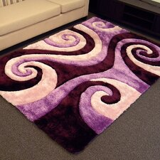 Shaggy Purple/Black Abstract Swirl Area Rug