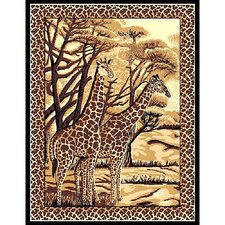 African Adventure Giraffe Novelty Rug