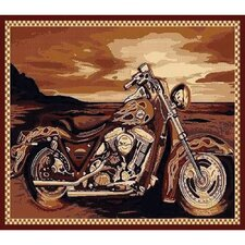 African Adventure Motor Cycle Area Rug