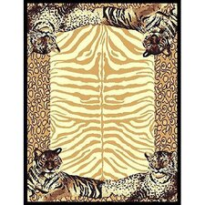 African Adventure Tiger Border Novelty Rug