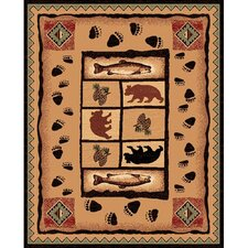 Lodge Design Fish, Tree and Bear Novelty Rug