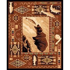 Lodge Design Fish and Bear Novelty Rug