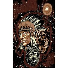 African Adventure Indian with Wolves Novelty Rug