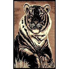 African Adventure Sitting Tiger Brown/Black Area Rug