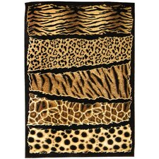Skinz 71 Mixed Animal Skin Prints Horizontal Patchwork Design Rug