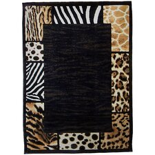 Skinz 73 Mixed Animal Skin Prints Patchwork Border Design Rug