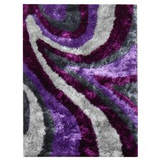 Flash Shaggy Lilac Abstract Wave Rug