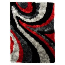 <strong>DonnieAnn Company</strong> Flash Shaggy Red Abstract Wave Rug