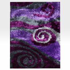 Flash Shaggy Lilac Abstract Swirl Rug
