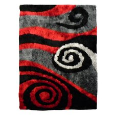 Flash Shaggy Red Abstract Swirl Rug
