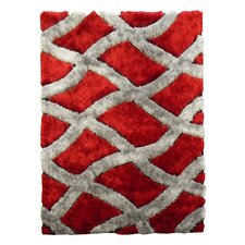 Flash Shaggy Red Geometric Crosshatched Pattern Rug