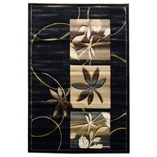 Sculpture Black Floral Rug