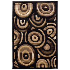 Sculpture Black Geometric Oval Rug