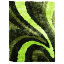 Flash Shaggy Green Abstract Wave Area Rug