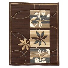 Sculpture Chocolate Floral Rug