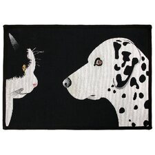 PB Paws & Co. Black / White Best Friends Tapestry Rug