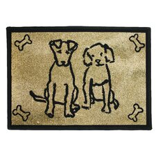 PB Paws & Co. Gold Dog Friends Tapestry Rug