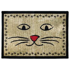 <strong>Park B Smith Ltd</strong> PB Paws & Co. Gold / Black Kitty Whiskers Tapestry Rug