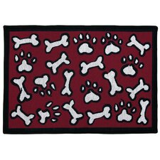 PB Paws & Co. Red Puppy Fun Tapestry Rug