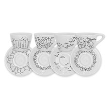 Coffee of the Gods Cup and Saucer Set (Set of 4)
