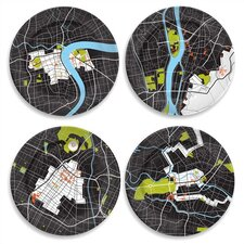 "City on a Plate 12"" Dinner Plate Set (Set of 4)"
