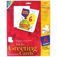 "20 Count 4-1/4"" x 5-1/2"" 3266 Quarter-Fold Blank Greeting Card"