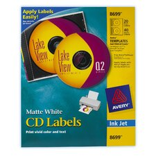 40 Count Matte CD and DVD Label in White (Set of 5)