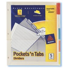 5 Count Assorted Colors Pockets'N Tabs Divider