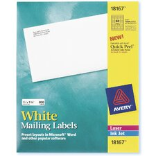 "9.25"" 10 Sheets Mailing Label in White"
