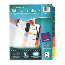 Ready Index Translucent Multicolor Table of Contents Dividers