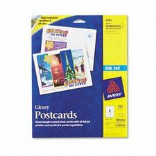 Inkjet Glossy Photo-Quality Postcards, 100/Pack