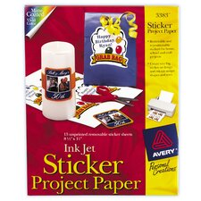 """8.5"""" x 11"""" Ink Jet Sticker Project Paper 15 Count (Set of 6)"""