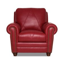 Weston Italian Leather Chair and Ottoman
