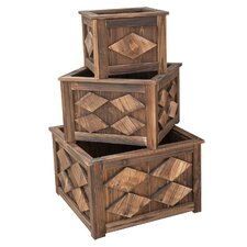 3 Piece Square Wood Planter Set