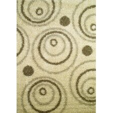 Shaggy Circles Natural Area Rug