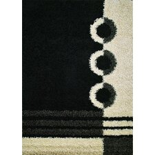 Shaggy Rings Black Area Rug