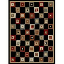 Tribeca Village Squares Black Rug