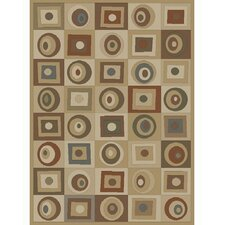 Soho Tribeca Rounds and Squares Tan Area Rug
