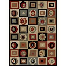 Soho Tribeca Rounds and Squares Brown Area Rug