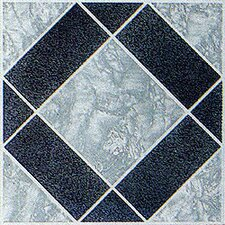 "12"" x 12"" Vinyl Tile in Black / Grey Diamond"