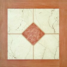"16"" x 16"" Vinyl Tiles in Paramount Woodtone/White Marble"