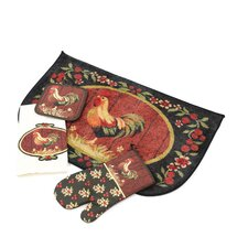 <strong>Home Dynamix</strong> Medley Rooster Kitchen 4 Piece Set