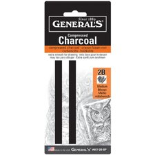 Compressed Charcoal 2B Stick Blister Carded (Set of 2)