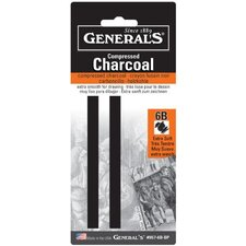 Compressed Charcoal 6B Stick Blister Carded (Set of 2)