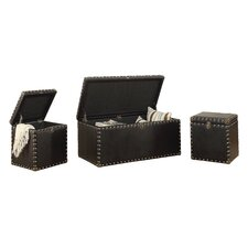 3 Piece Bonded Leather Storage Trunk Set