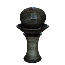 Ball on Top of Stand Resin Fountain with LED Light